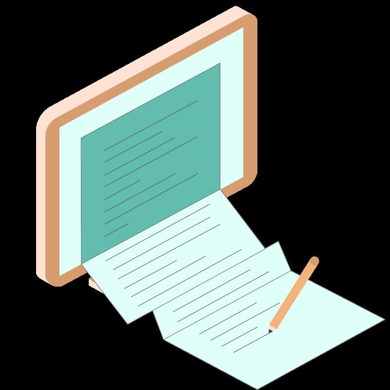 illustrazione di un foglio che esce da un monitor