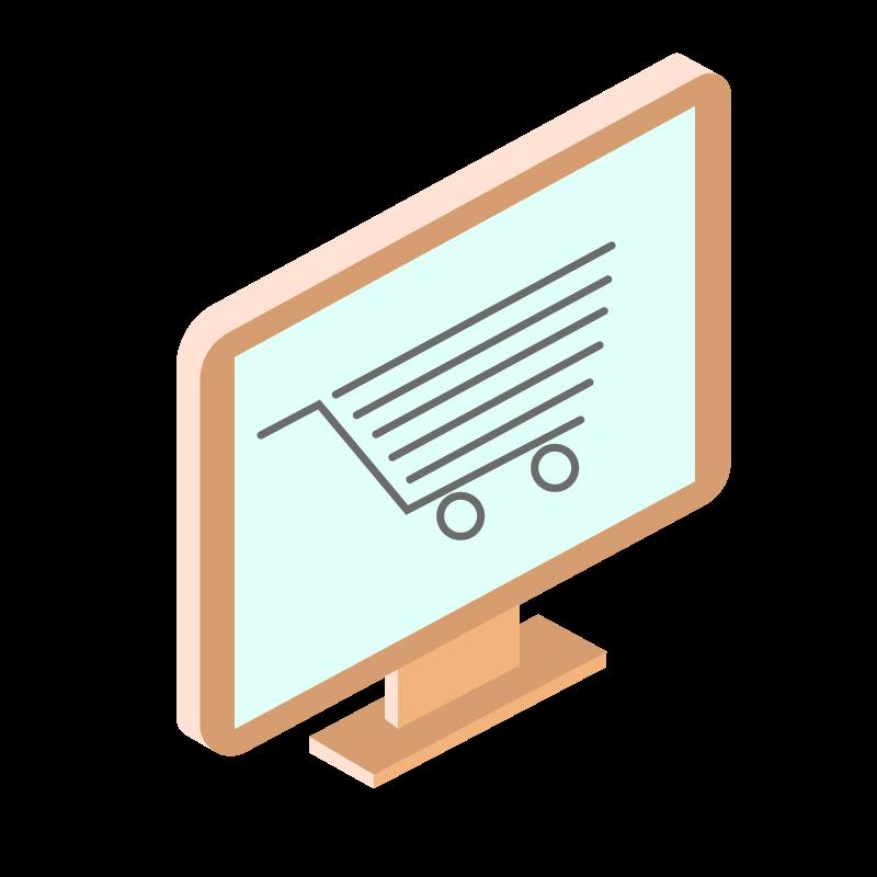 illustrazione di un monitor con un'icona di un carrello