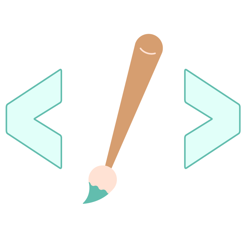 illustrazione di un pennello tra parentesi angolari, parentesi usate nella programmazione