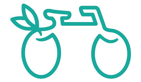 pittogramma Madera bike, raffigurante una bicicletta con due olive al posto delle ruote