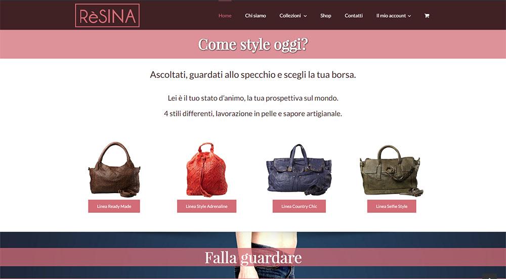 Resina e-commerce screenshot della homepage