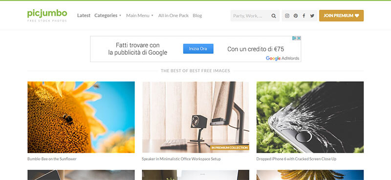 Screenshot del sito Picjumbo